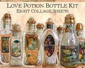 Love Potion Bottle Kit, 8 Digital Collage Sheets -Valentine Wedding Halloween INSTANT Download - Vintage Labels And Embellishments CS64C