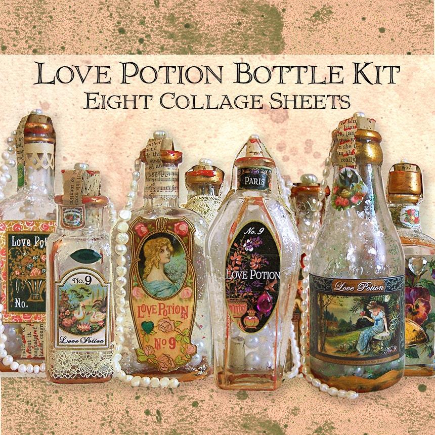 Love Potion Drink Labels: Love Potion Bottle Kit 8 Digital Collage Sheets Valentine