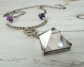Minimal Geometric Clear Crystal Vintage Pyramid Pendant, Purple Amethyst & Silver Spiral Chain Delicate Boho Necklace One of a Kind OOAK