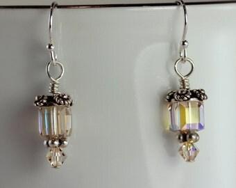 Ceylon Topaz AB Swarovski Crystal Cube & Bali Silver Earrings