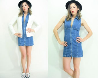 90's Denim Dress / Deastock Vintage ZIP FRONT Dress Sleeveless Bandage Mini Dress