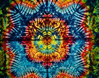 """58""""x40"""" Medium Tie Dye Tapestry sized Rainbow color  Made in USA Fine art offering by Emeraldsprings"""