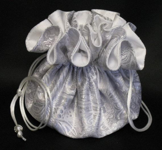 Brides Jewelry Tote---Drawstring Organizer Travel Pouch---Elegant Silver & White Paisley---Large Size