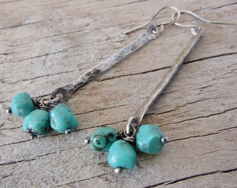 sterling silver earrings, Turquoise, Dangle Earrings, Hammered Silver Jewelry