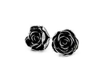 Silver rose studs - large