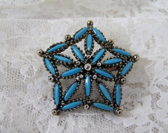 Large Vintage Silver and Turquoise Star Brooch, South West Jewelry,  Estate Jewelry, Western Brooch, Retro 1970's