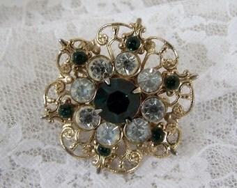 Circle Flower Pin Brooch Glass Emerald Clear Rhinestone Vintage Gold Green, Estate Costume Retro Bridal Statement Jewelry