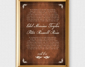 leather look wedding vow art - printable file - valentines day 3rd anniversary gift third brown customised personalised personalized