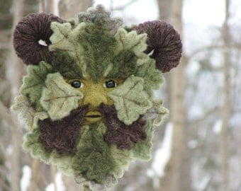 Needle Felted Green Man Soft Sculpture by Bella McBride Greenman