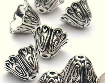 Medium Bell Shape Bead Cap Antique Silver Tibetan Style Bohemian supplies Tassel Component  Assemblage jewelry