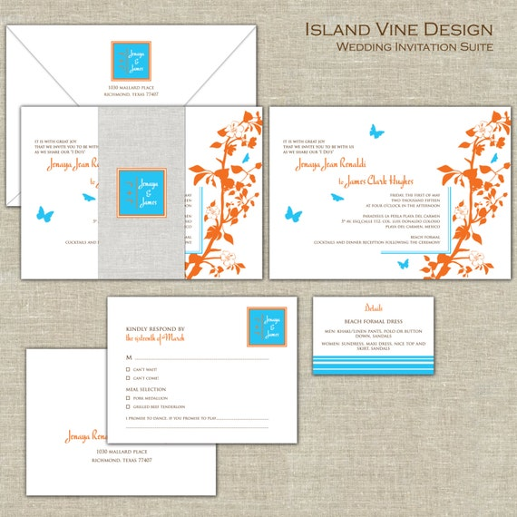 Rhode Island Wedding Invitation Printed: Island Wedding Invitations, Blue & Orange Wedding