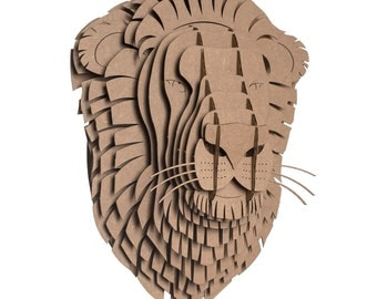 cardboard safari leon cardboard lion head medium brown