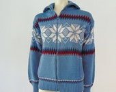 70s mens NORDIC SKI SWEATER cardigan size small