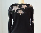 80s LUCKY STAR beaded sequin sweater size medium