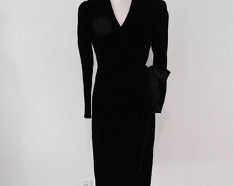 80s black VELVET wrap dress size small