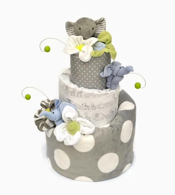 Grey Elephant Baby Shower, Elephant Diaper Cake, Neutral Elephant Shower Decor, Elephant Baby Shower Centerpieces, Elephant Shower Gift