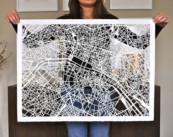 paris hand cut map