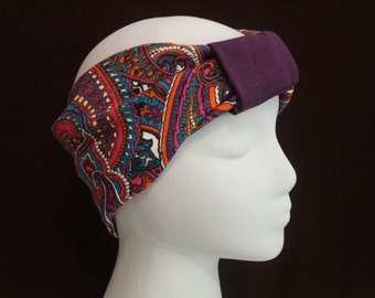 PURPLE PAISLEY Turban Headband / Hair Bands / Wide Head Wrap / Turband Boho Hair Covering Wrap / Jersey Stretch Ruched with Fabric Wrap