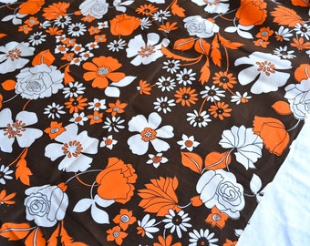Vintage Fabric  - Mod Flowers in Orange and Brown - By the Yard Cotton Broadcloth
