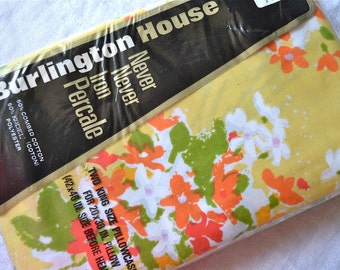 Vintage Bed Pillowcases - Burlington Flower Bouquets on Yellow - King Size Pair NOS