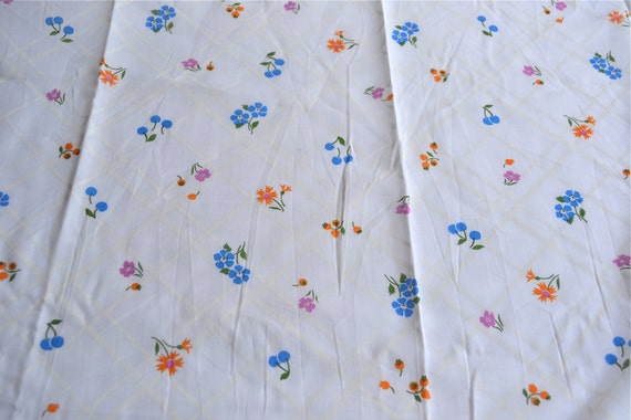 Vintage Fabric Blue Cherry And Flowers By The Yard Curtain Sheer Cotton Poly From