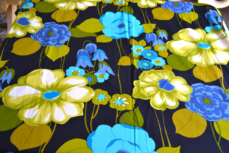 Vintage Fabric Large Floral Hawaiian Barkcloth By The Yard