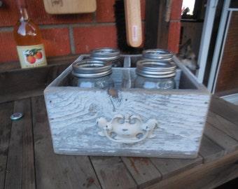 Repurposed Fence Wood Box Rustic Mason Jars Shabby