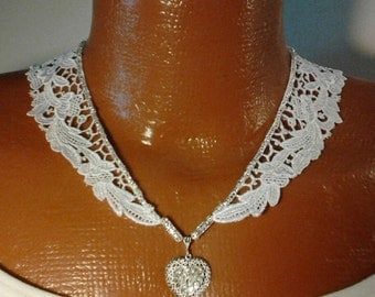 Handmade 20 inch Off White Lace and Sterling Silver Heart Pendant Bridal Necklace