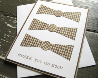 Thank you so much with Three Bow Ties - Handmade Greeting Card