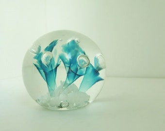 Vintage St. Clair Elwood Ind Peacock Glassworks Decorative Paperweight