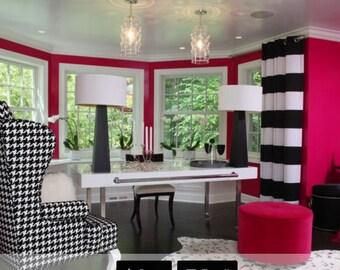 "Pair Horizontal 8"" stripes black & white cotton drapes, stripe panels, with grommets"