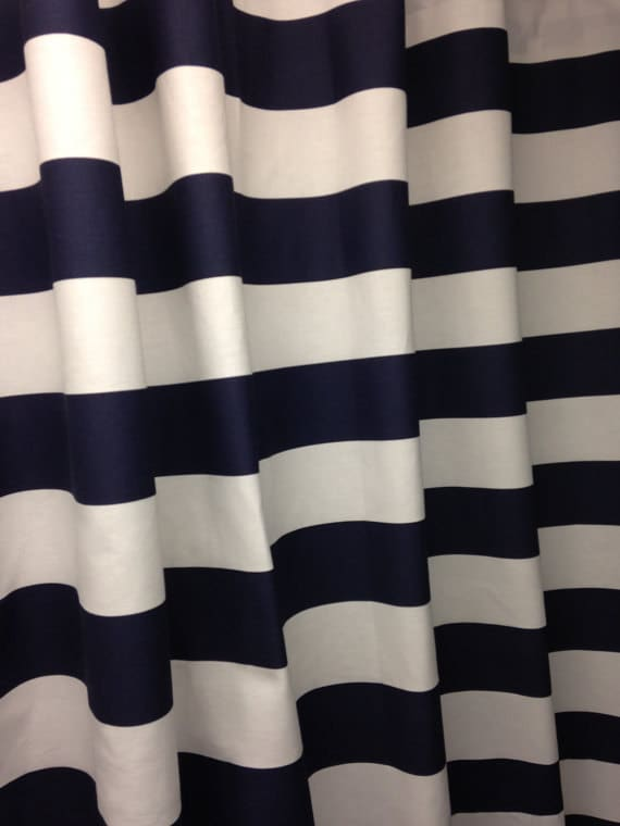 Navy blue and white horizontal 3 quot stripe shower curtain cotton fabric
