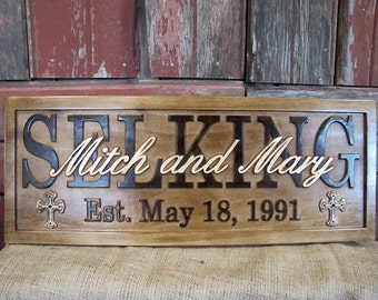 Personalized Family Name Signs CARVED Custom Wooden Sign Last name Christmas Gift Cross Established Anniversary wedding gift couples plaque