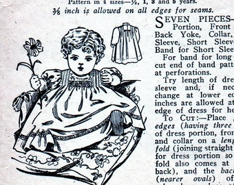Antique Paris Pattern 2762 - -  PRECIOUS Baby Girls Heirloom Dress  * Factory Folded