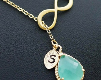 Monogram Necklace Infinity personalized necklace with mint glass lariat necklace personalize jewelry bridesmaid gift Bridesmaid Jewelry Gift