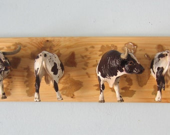 Upcycled Toy Wall Peg Rack with Texas Longhorn Bull Clothes Hooks