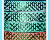 New 1, 2, 3, 4 or 5 Yards 3/8 7/8 MERMAID Green FOIL Fish Tail fins scales GROSGRAIN Ribbon Hair Bows water decor sea princess sewing gold