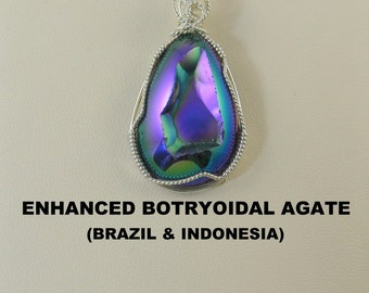 Enhanced Quartz Botryoidal Designer Cabochon Wire Wrapped Pendant.