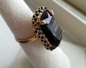 Vintage Black Rhinestone Cocktail Ring
