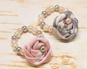 Infant Rosette Bracelet, Baby Glass Bead Pearl Beads w Fabric Flower,Newborn Girl, photo prop, baby shower gift,  pink, gray, white