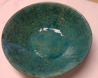 Crackle enamel glass on copper bowl, Glass enamel vessel, crackle enamel, crackle enamel glass, glass enamel art, enamel bowl