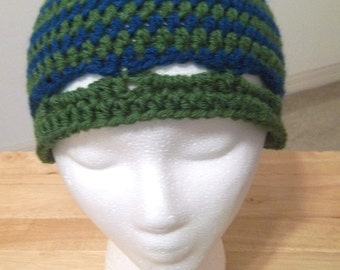 Hat - Crochet Clochet in Green and Blue Stripes - Size Small