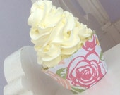 Shabby Chic Roses Cupcake Wrappers, Floral, Cabbage Rose