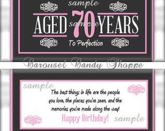 70th Birthday Party Favors Hershey's Candy Bar Wrappers Pink