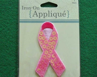 Iron-On Breast Cancer Awareness Ribbon Applique
