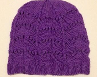 Handknit Purple Lace Hat