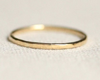 Delicate Hammered Stack Ring Band in Solid 14k White or Yellow or Rose or Green Gold - Simple Band of Gold - Tiny Halo Hammered Ring