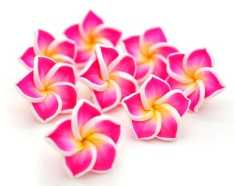 Pink Clay   Flower Beads, 20mm, 10 Pcs, Plumeria Flower Beads,   Beads Flower, Fimo Flower -B135