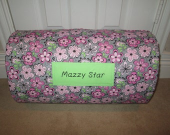 MONOGRAMMED Childrens THICK COMFY Nap Mat PreSchool Grey Pink Floral  has Attached Double Sided Cuddle Minky Blanket and Pillow