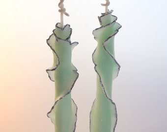 Green & Silver Glitter Taper Candle Set of 2, Unique Taper Candles, Unique Gift for Her, Decorative Candles, Housewarming Gift, Wedding Gift